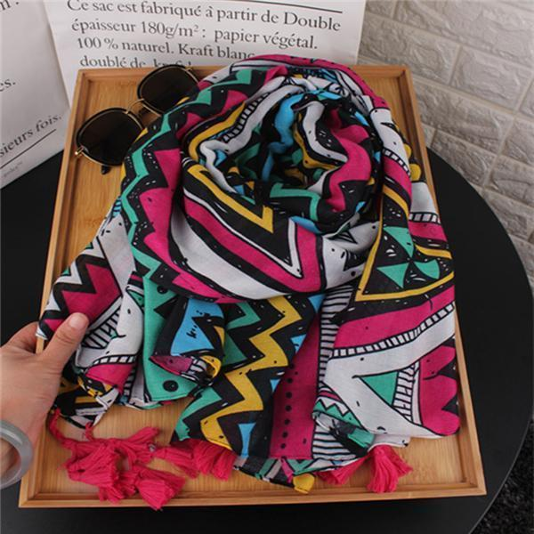 Ethnic Beach Casual Rectangle Thermal Print Cape Scarf