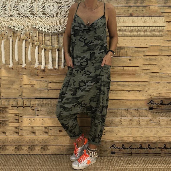 Women Plus Size Sexy V Collar Sling Camouflage Loose Jumpsuit