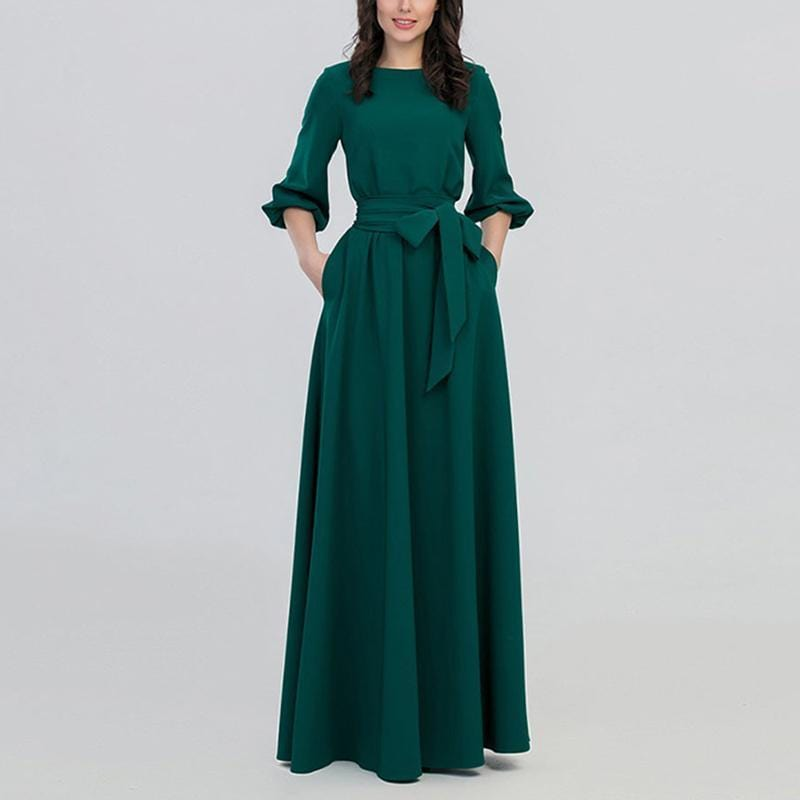 Pure Colour Round Neck   Bishop Sleeve  Fashion Maxi Dress