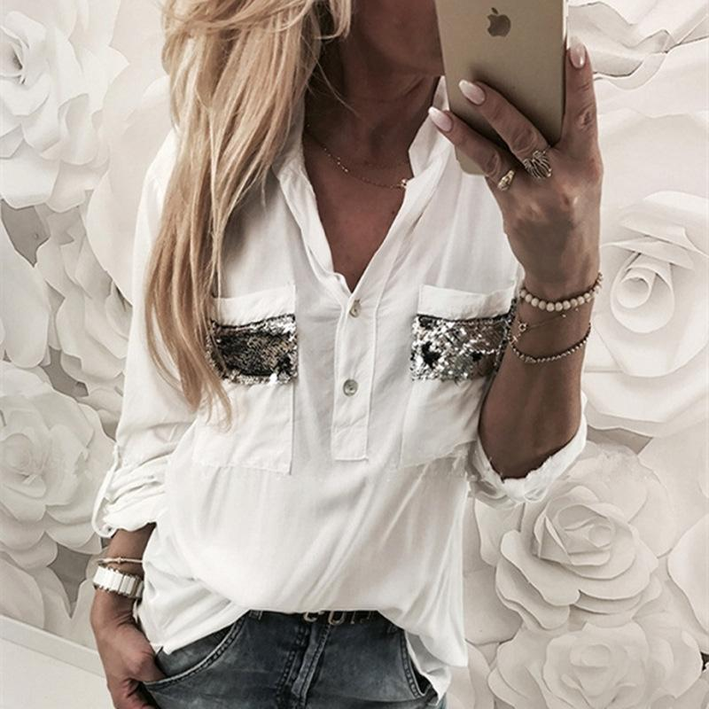 Fashion V Neck  Pure Colour Long Sleeve Sequins Pocket  T-Shirts
