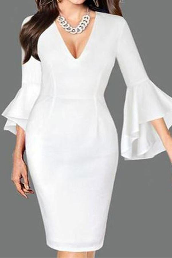 Sexy Deep V Neck Pure   Colour Bell Sleeve  Slim Dress