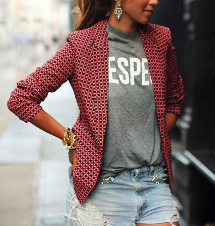 Stylish Casual Plaid Long Sleeve Lapel Blazer