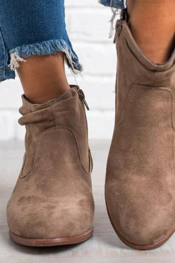 Fashion Square Middle Heel Short Boots