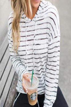 Hooded  Drawstring  Striped Hoodies