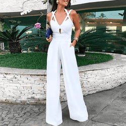 Pure Colour Cutout   Crisscross Bandage Wide Leg Jumpsuit