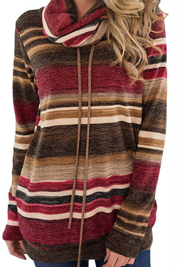 Cowl Neck Drawstring Striped Sweatshirts