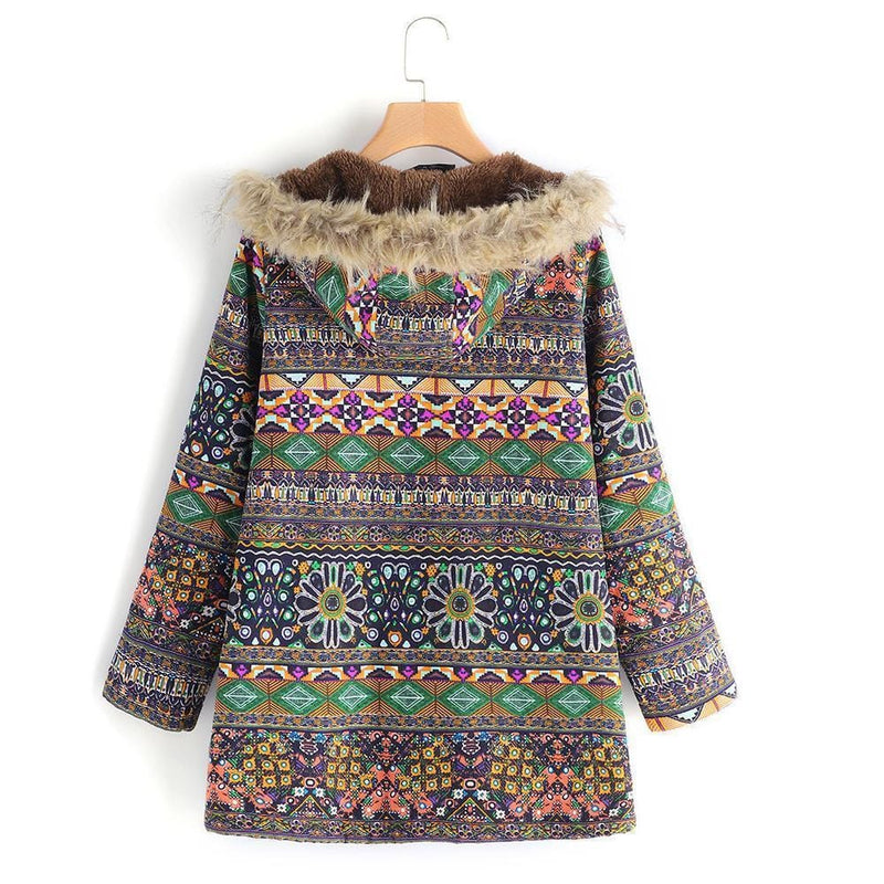 Fashion Ethnic Embroidery Thick Warm Hooded Long Coat