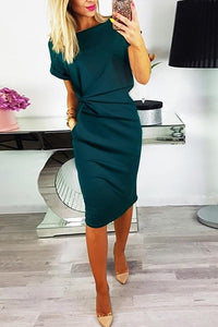 Scoop Neck  Inverted Pleat  Bust Darts  Plain Bodycon Dress