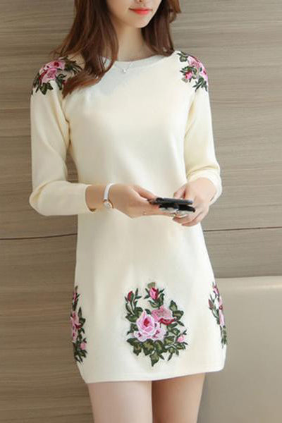 Round Neck Knit Plain Shift Dress
