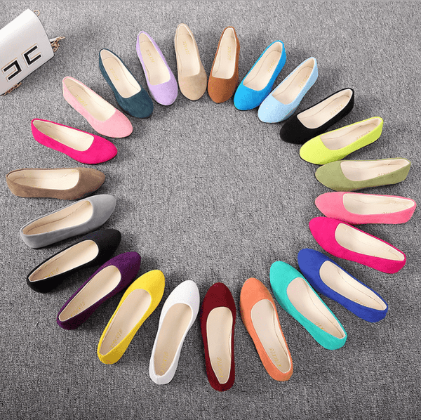 Pointed Flat Bottom Shallow Mouth Candy Color Shoes
