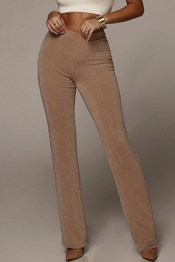 Fashion Bell-Bottoms High-Waist Pure Colour Pants