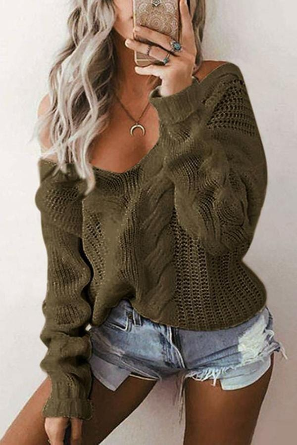 Pure Color Deep V Neck   Big Yards Loose Turtleneck Sweater Twist Sweater