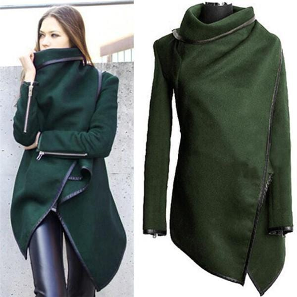 Casual High Collar Plain Zipper Irregular Long Coat