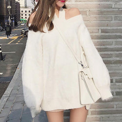 Fashion Mohair Pure Colour Halter Knitted Sweater