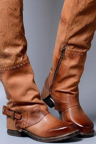 Stylish Winter Women Side Zipper Leather High Height Boots