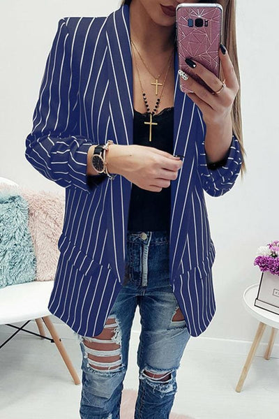 Fashion Long Sleeve Elegant Striped Little Suit