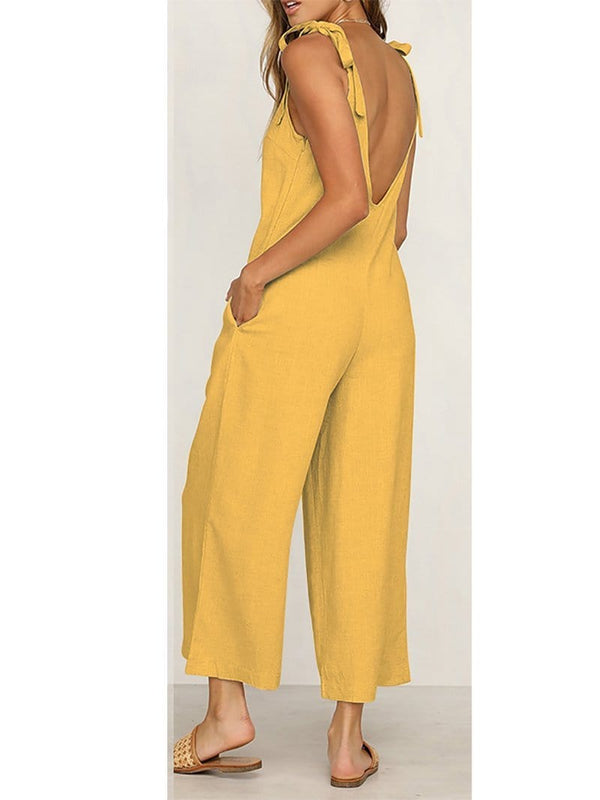 AREALOOK Women Wide Leg Strapless Casual Jumpsuits Loose Fit Rompers with Pockets