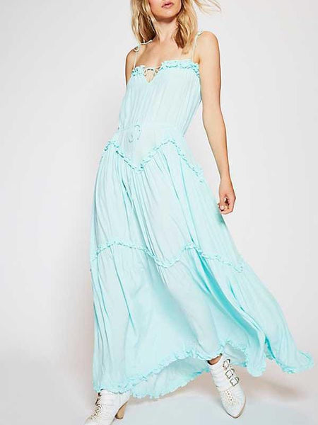 Bohemian Sling Pure Colour Belted Chiffon Maxi Dresses