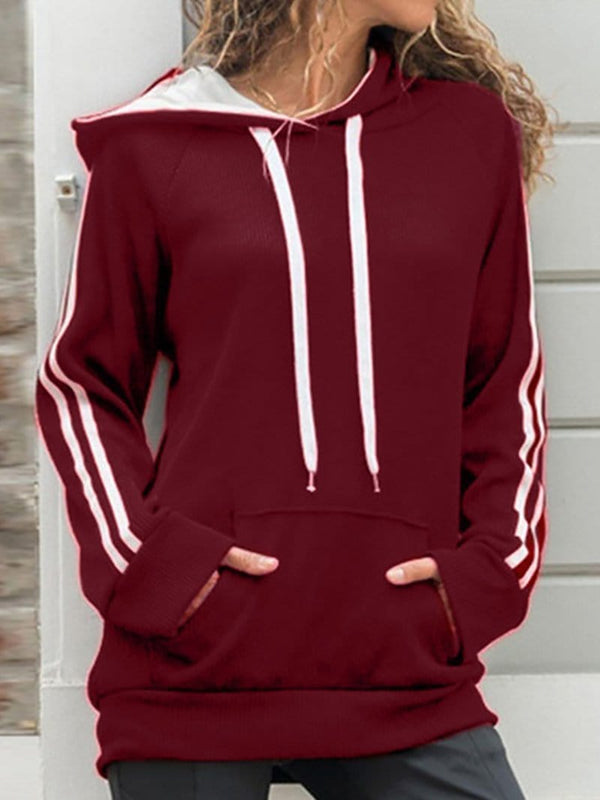 Fashion Striped Splicing Long Sleeve Hoodie