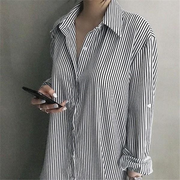 Fashion Casual Long Sleeved Striped Loose Shirt