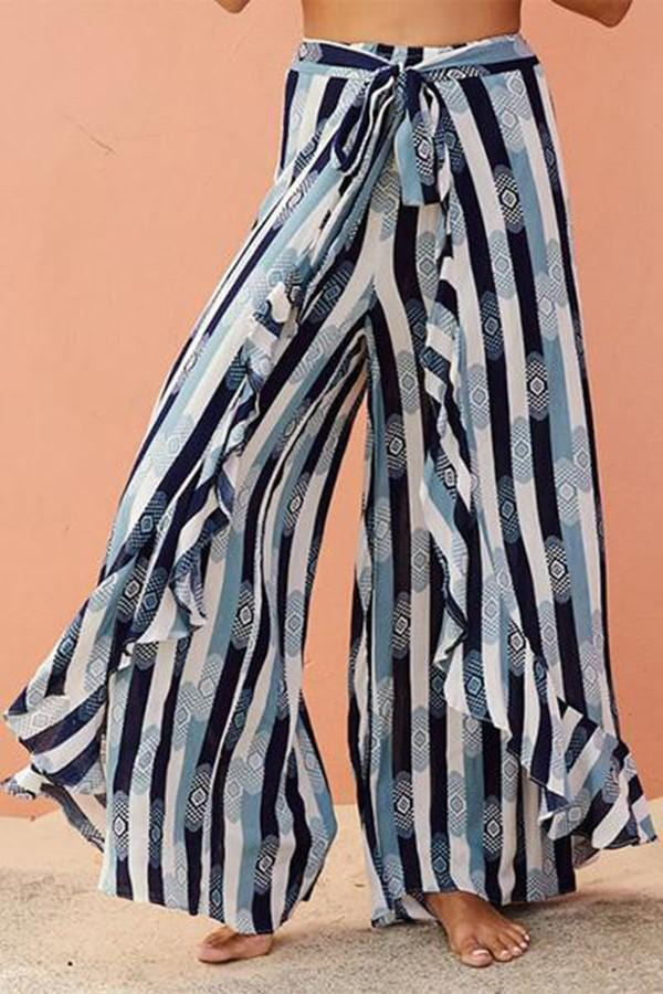 Fashion Broad Leg Holiday Pants