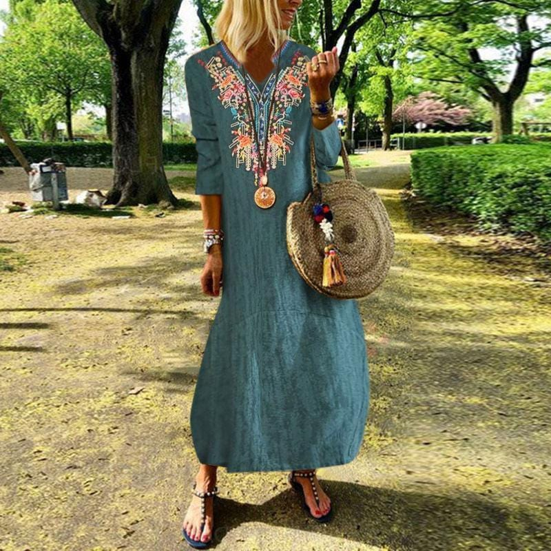 Vintage Linen National Style Inwrought Maxi Dresses