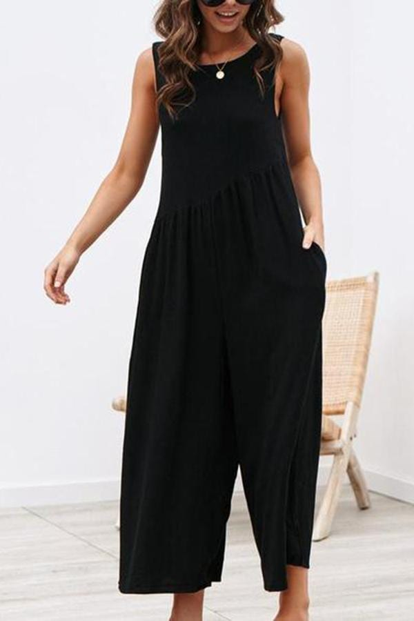 AREALOOK Women Plus Size Sleeveless Wide Leg Long Pant Casual Outfit Tank Jumpsuit