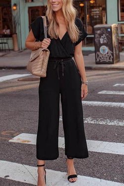 Women Sexy V Neck Short Sleeve Black Wide Leg Jumpsuits