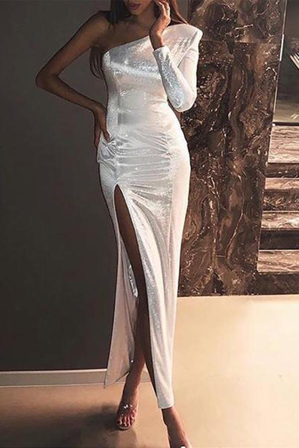 Sexy Single Shoulder Shining Slit Bodycon Dresses