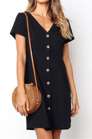Women Casual Dresses Black Mini Shift Dress