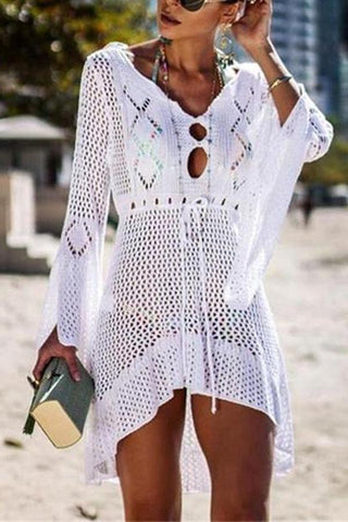 Casual Sexy Hollow Out   Sandbeach Knitted Sunscreen Mini Dresses