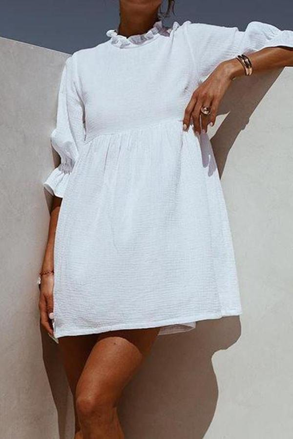 Women Cotton And Linen Casual Mini Dress