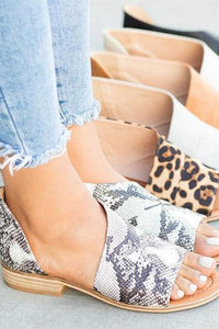 Peep Toe Leopard Sandals Casual Shoes
