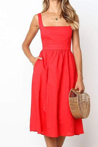 Fashion Plain Off Shoulder Defined Waist Vacation Dress