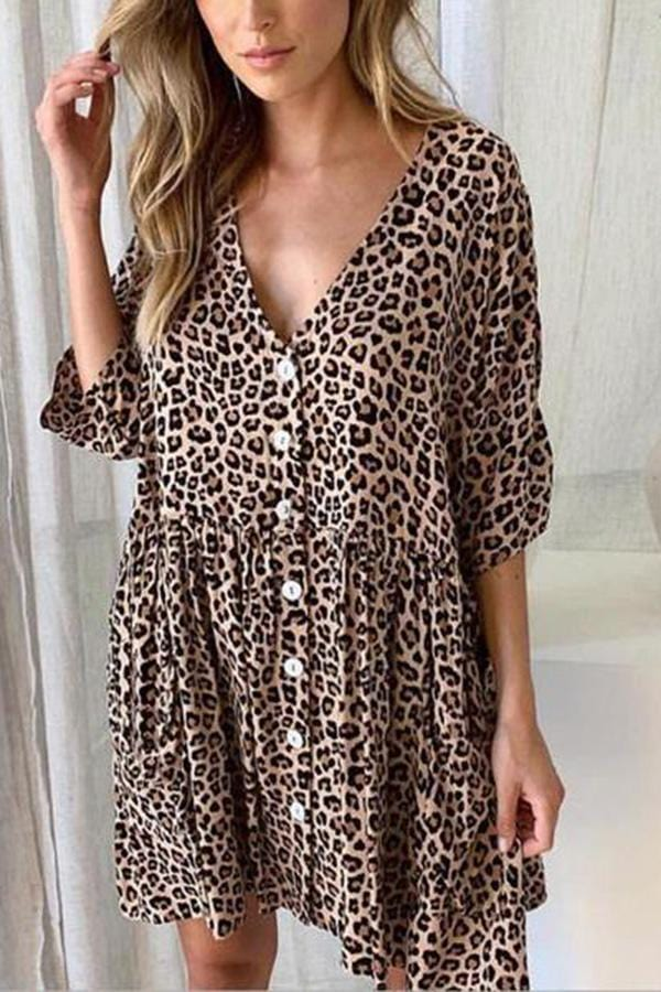 Women Leopard Print Casual Mini Dress  Plus Size