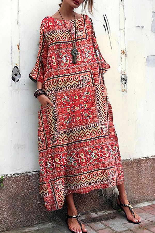 AREALOOK Cotton And Linen Printed Ethnic   Style Short Sleeve Loose Vacation Dress