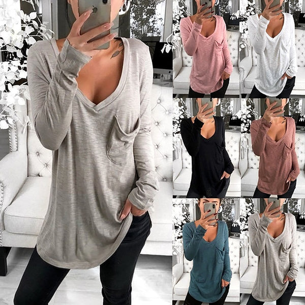 V-Neck Loose Pocket Long Sleeve Bottoming T-Shirt