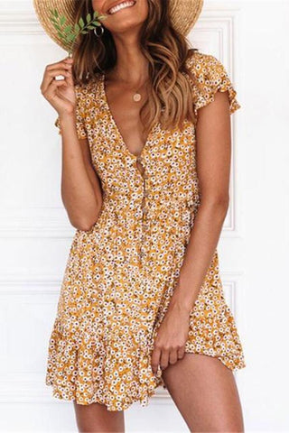 Women Summer Floral Printed Casual Mini Dresses