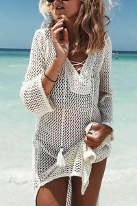Beach Sunscreen Shirt Hollow Tie Rope Loose Swimsuit Blouse