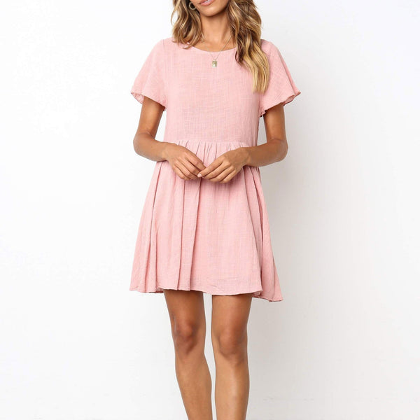 Casual Round Collar Plain Loose Shift MiniDress