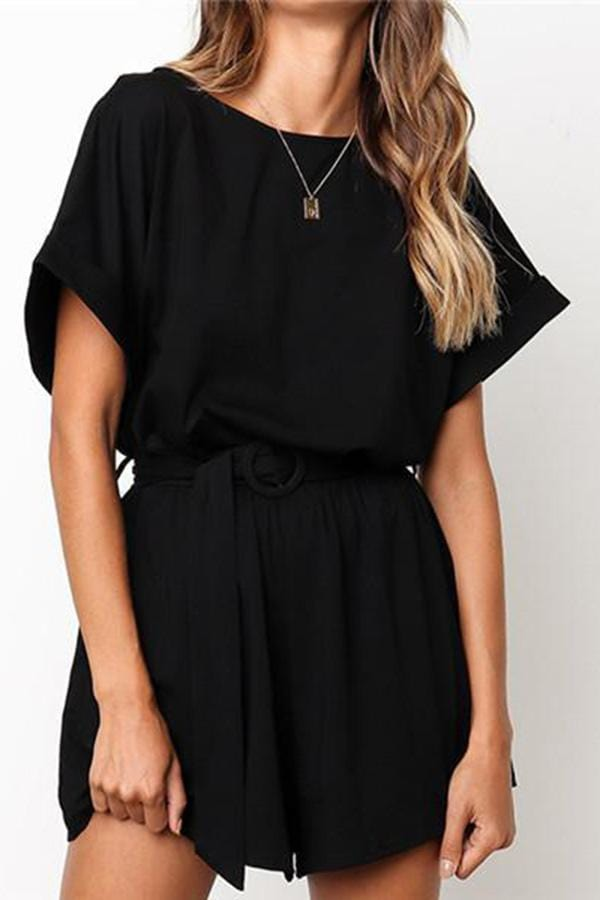 Fashion Round Collar Short Sleeve Leisure Jumpsuits
