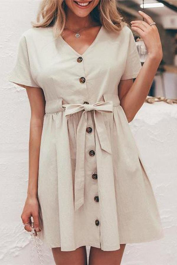 Fashion V Collar Plain Short Sleeves Cardigan Dress