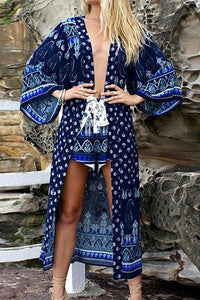 Female Bohemian National Style Printing Long-Shirt Casual Dress