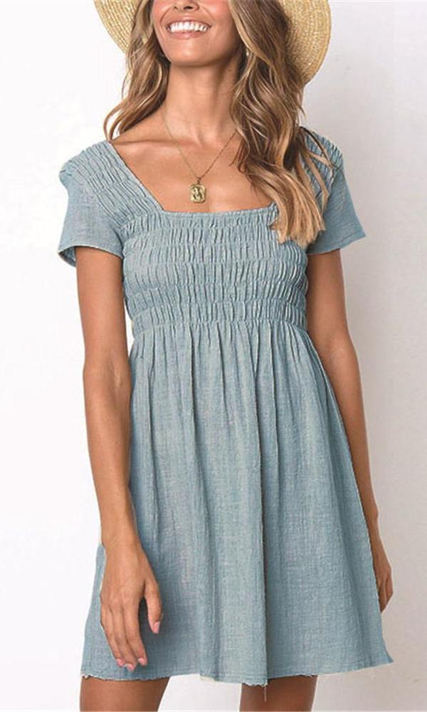 Sexy Square Neck Plain Elastic Bust Vacation Dress