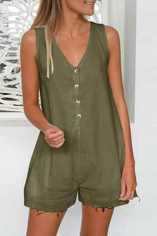 Arealook Casual V Neck Pure Colour Sleeveless Jumpsuits