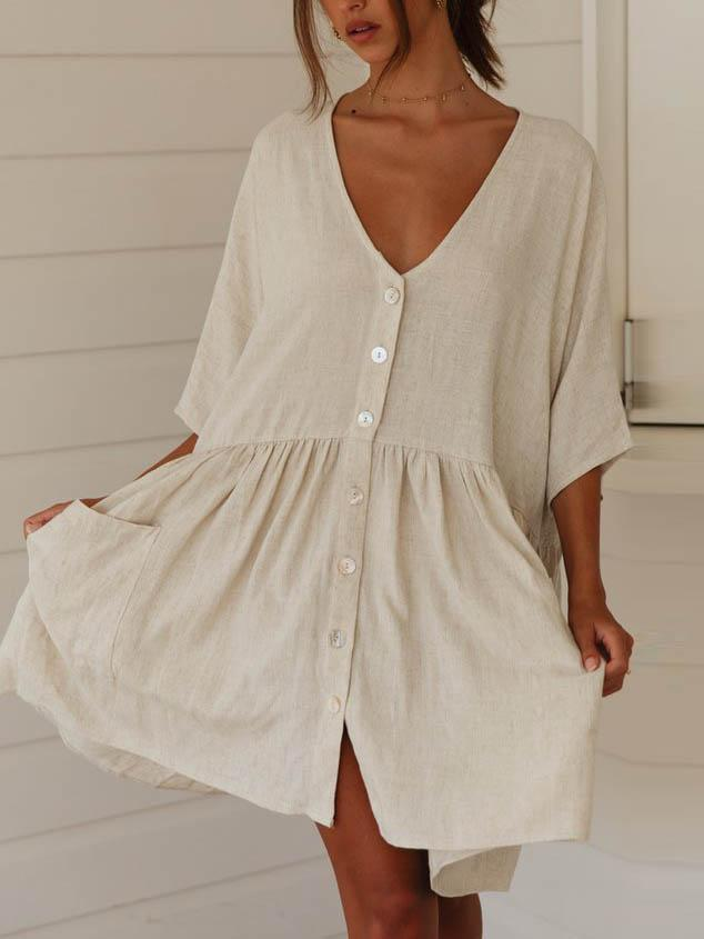 Cotton And Linen Button-up Mini Dress Plus Size