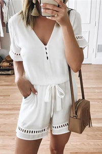 Sexy V Collar Short Sleeve Hollow Out Jumpsuits