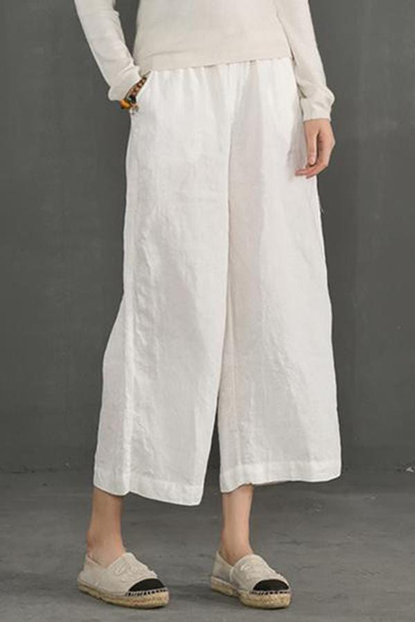 Leisure Loose Waist Fold 9 Points Wide Leg Trousers