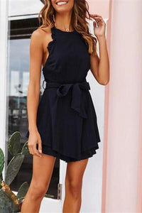 Round Neck Sleeveless Strapless Halter Mini Dress