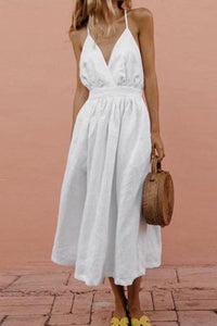 Open Back Cross Strap V-Neck   Sling Cotton And Linen Dress